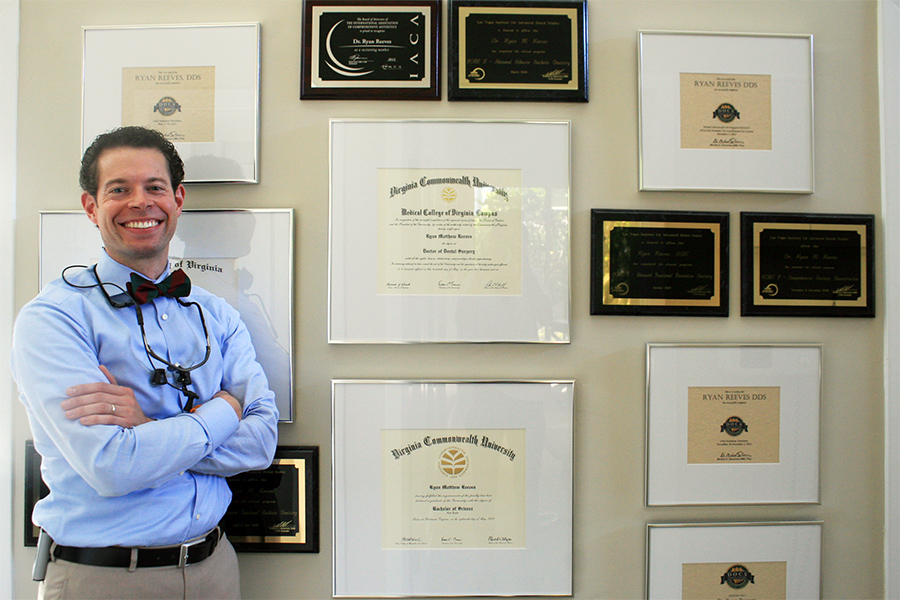 Dr. Reeves and his many awards and memberships.